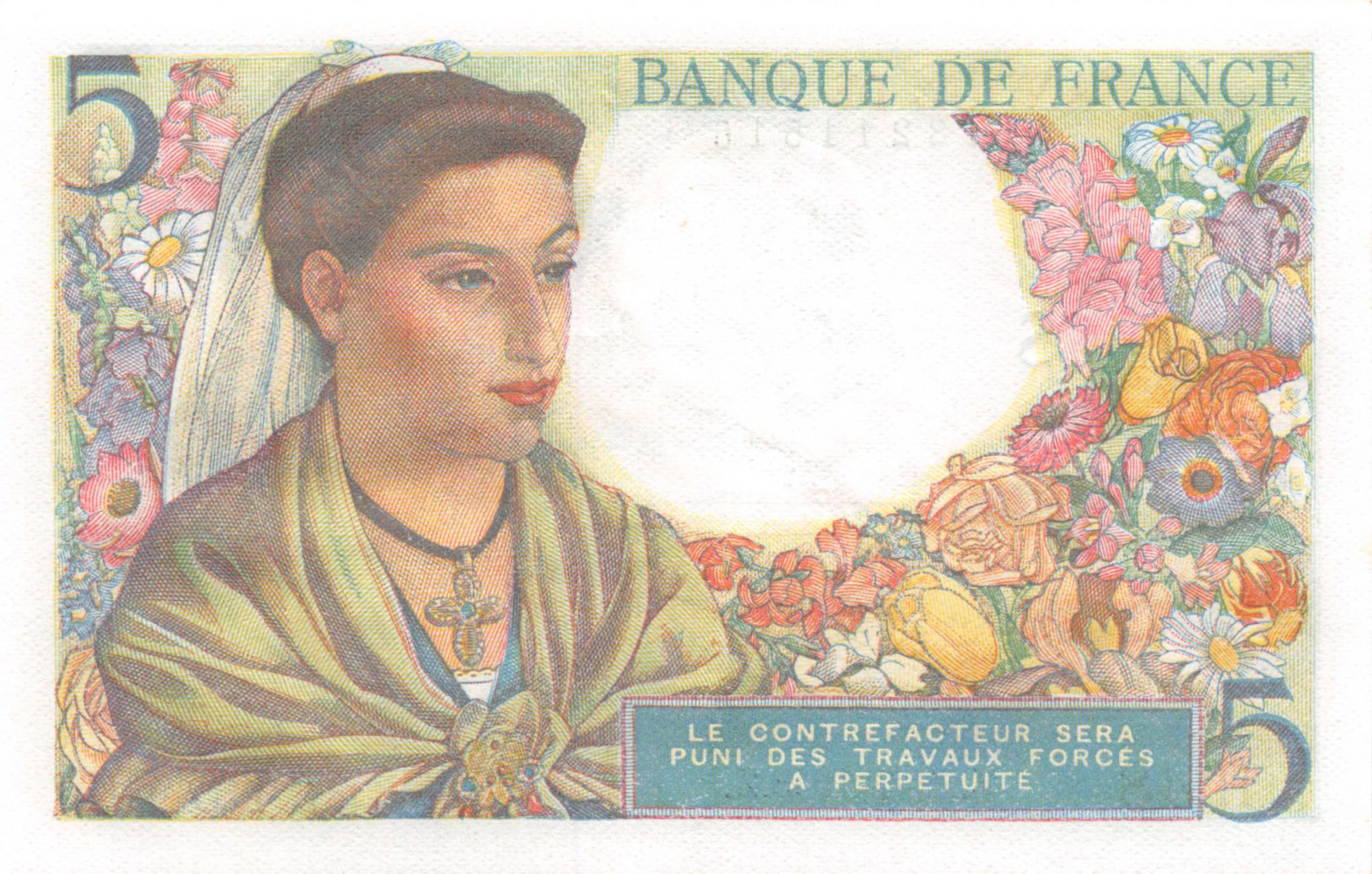 France 5 Francs Berger - 22-07-1943 Série H.48 - SPL