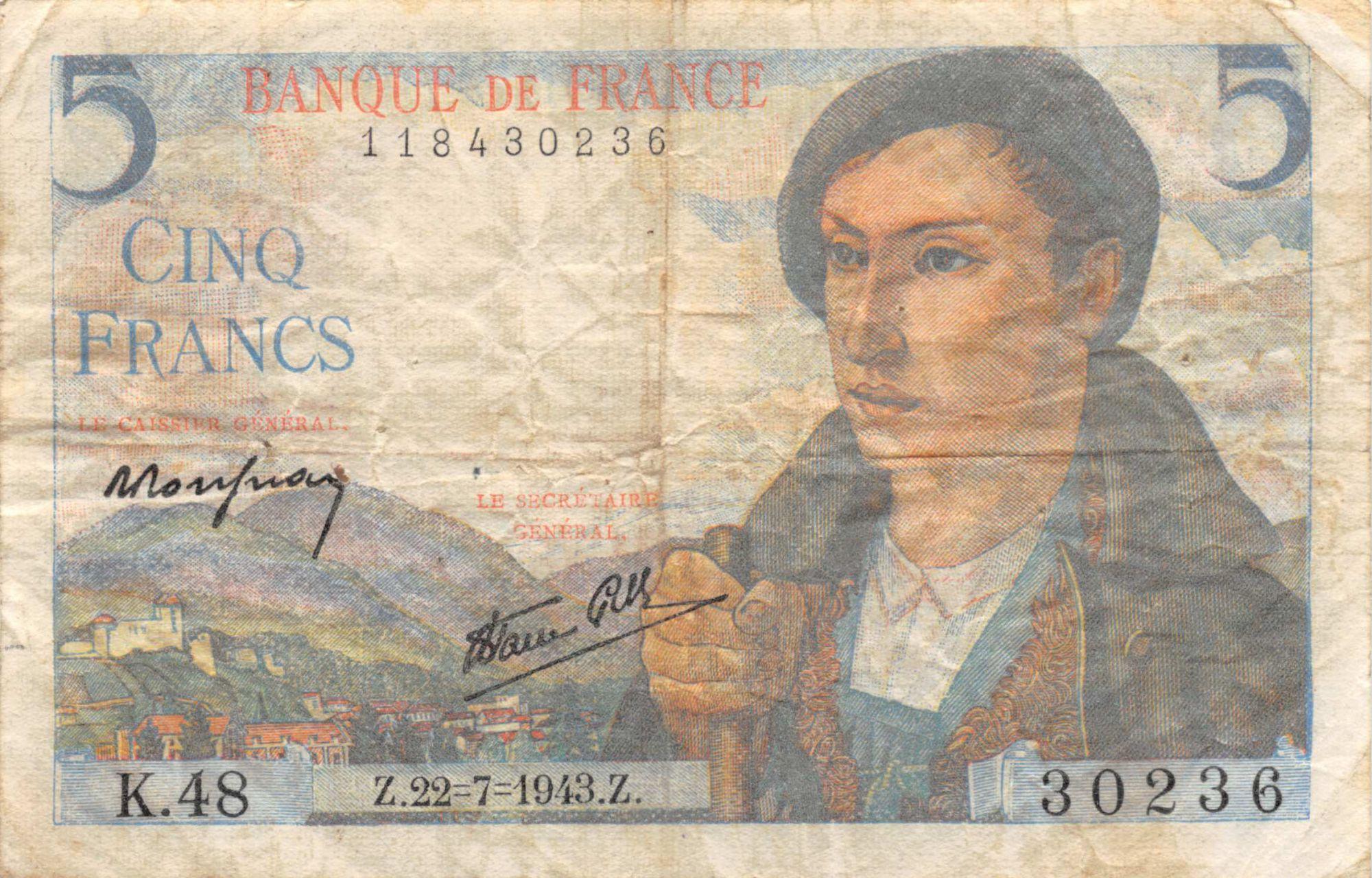 France 5 Francs Berger - 22-07-1943 Série K.48 - TB