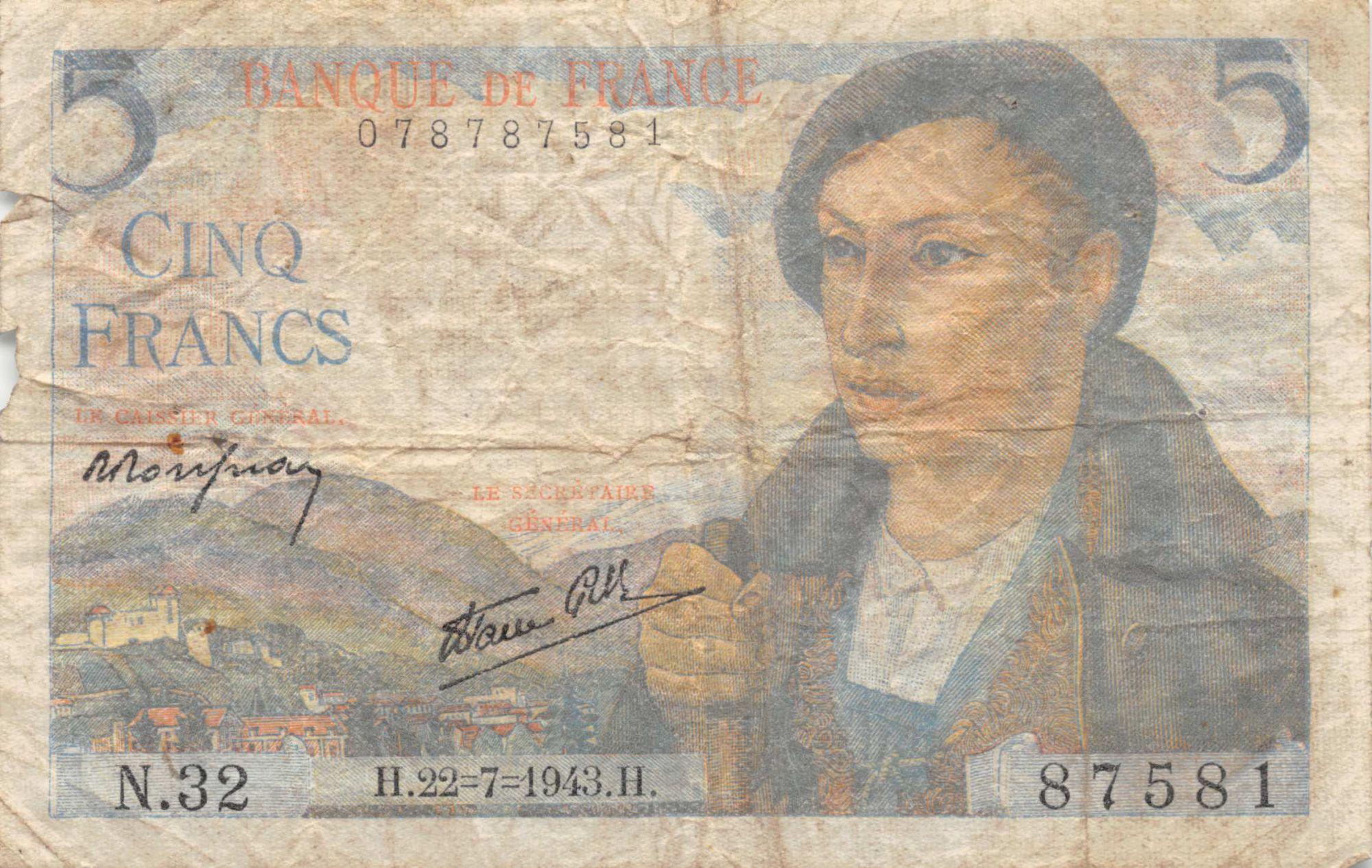 France 5 Francs Berger - 22-07-1943 Série N.32 - PTB