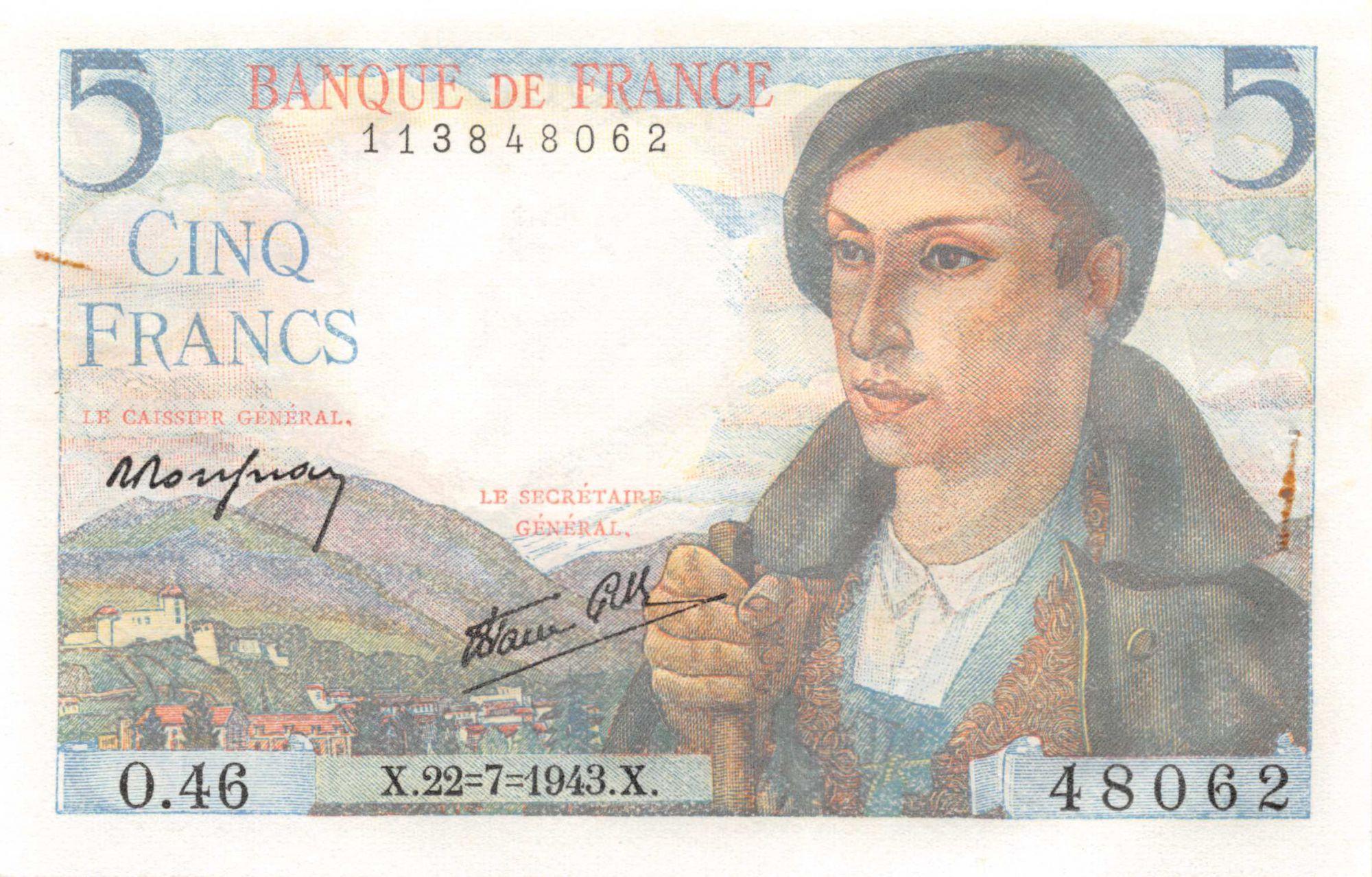 France 5 Francs Berger - 22-07-1943 Série O.46 - PSPL