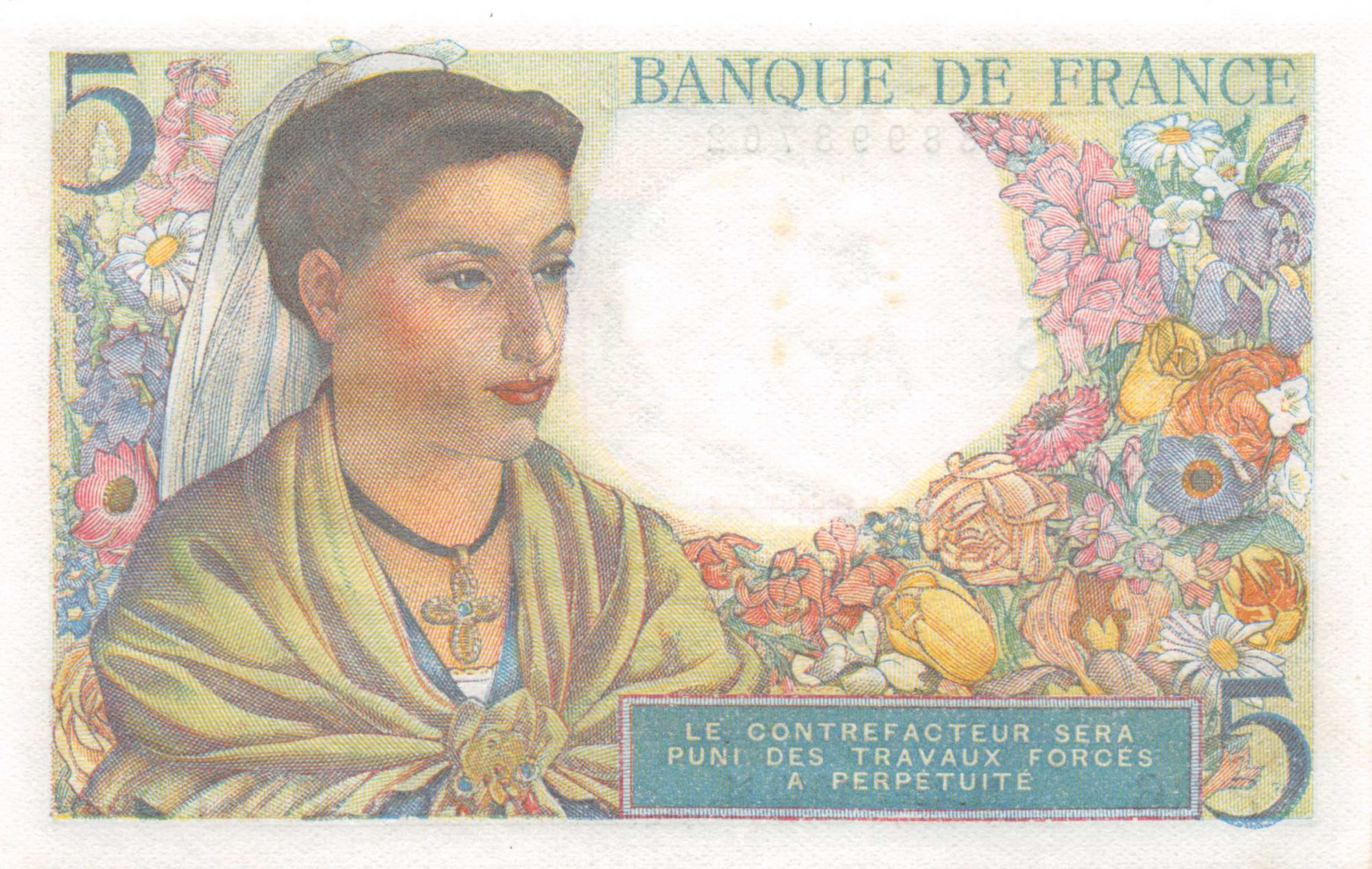 France 5 Francs Berger - 22-07-1943 Série P.36 - SPL