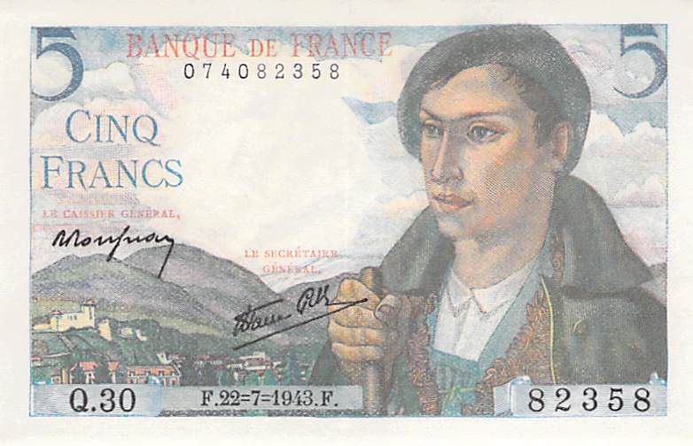 France 5 Francs Berger - 22-07-1943 Série Q.30 - SUP