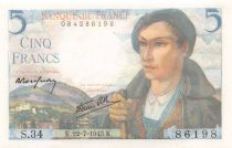 France 5 Francs Berger - 22-07-1943 Série S.34 - NEUF
