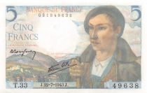 France 5 Francs Berger - 22-07-1943 Série T.33 - SPL+