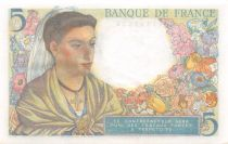 France 5 Francs Berger - 22-07-1943 Série T.33 - SPL+