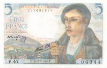 France 5 Francs Berger - 22-07-1943 Série V.47 - NEUF