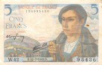 France 5 Francs Berger - 22-07-1943 Série W.42 - PTTB