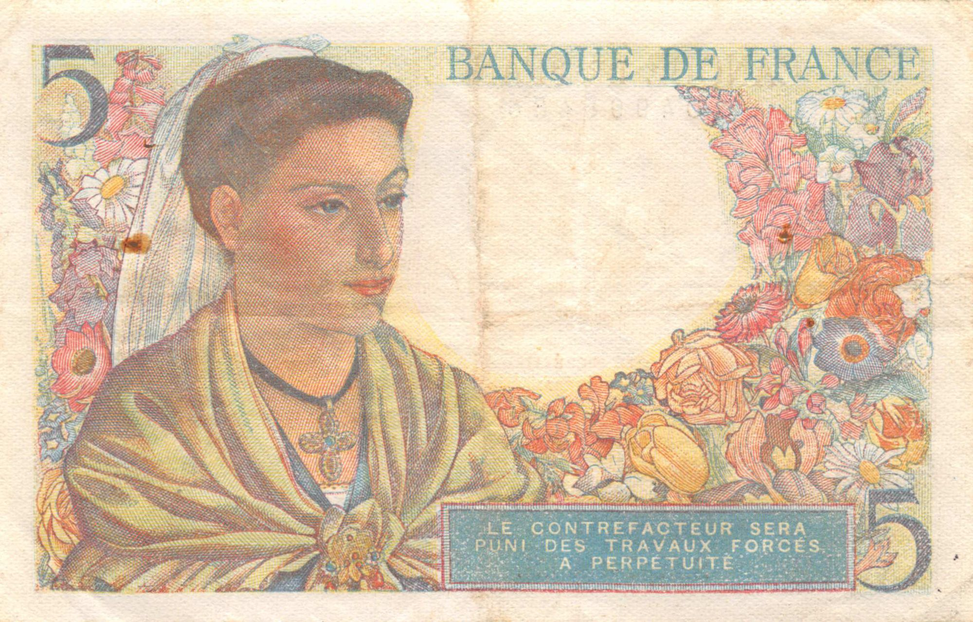 France 5 Francs Berger - 22-07-1943 Série W.42 - PTTB