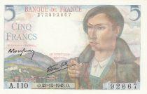 France 5 Francs Berger - 23-12-1943 - Série A.110
