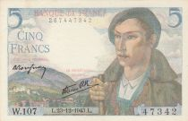 France 5 Francs Berger - 23-12-1943 - Série W.107