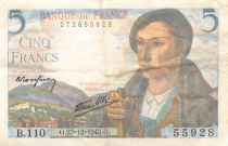 France 5 Francs Berger - 23-12-1943 Série B.110 - TTB