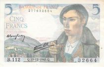 France 5 Francs Berger - 23-12-1943 Série B.112 - SPL