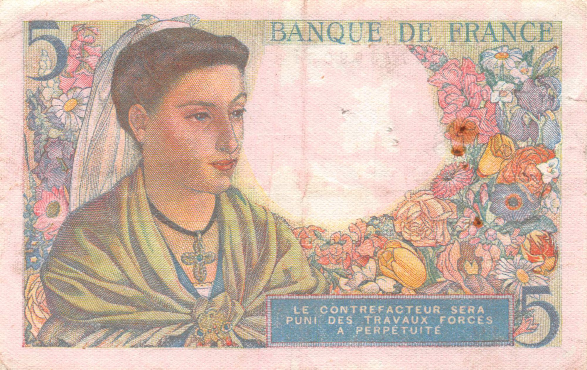 France 5 Francs Berger - 23-12-1943 Série B.112 - TB+