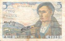 France 5 Francs Berger - 23-12-1943 Série B.112 - TB+
