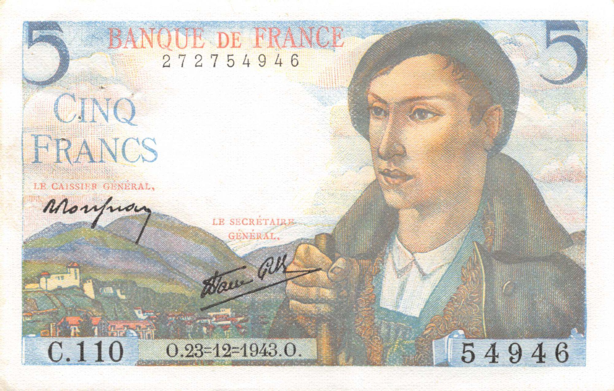 France 5 Francs Berger - 23-12-1943 Série C.110 - SUP