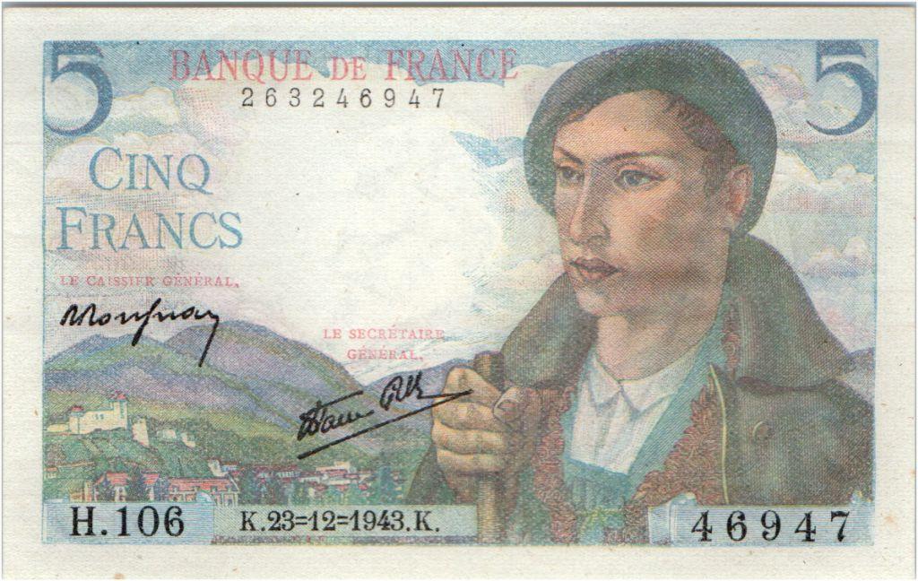 Billet France 5 Francs Berger 23 12 1943 Serie H 106