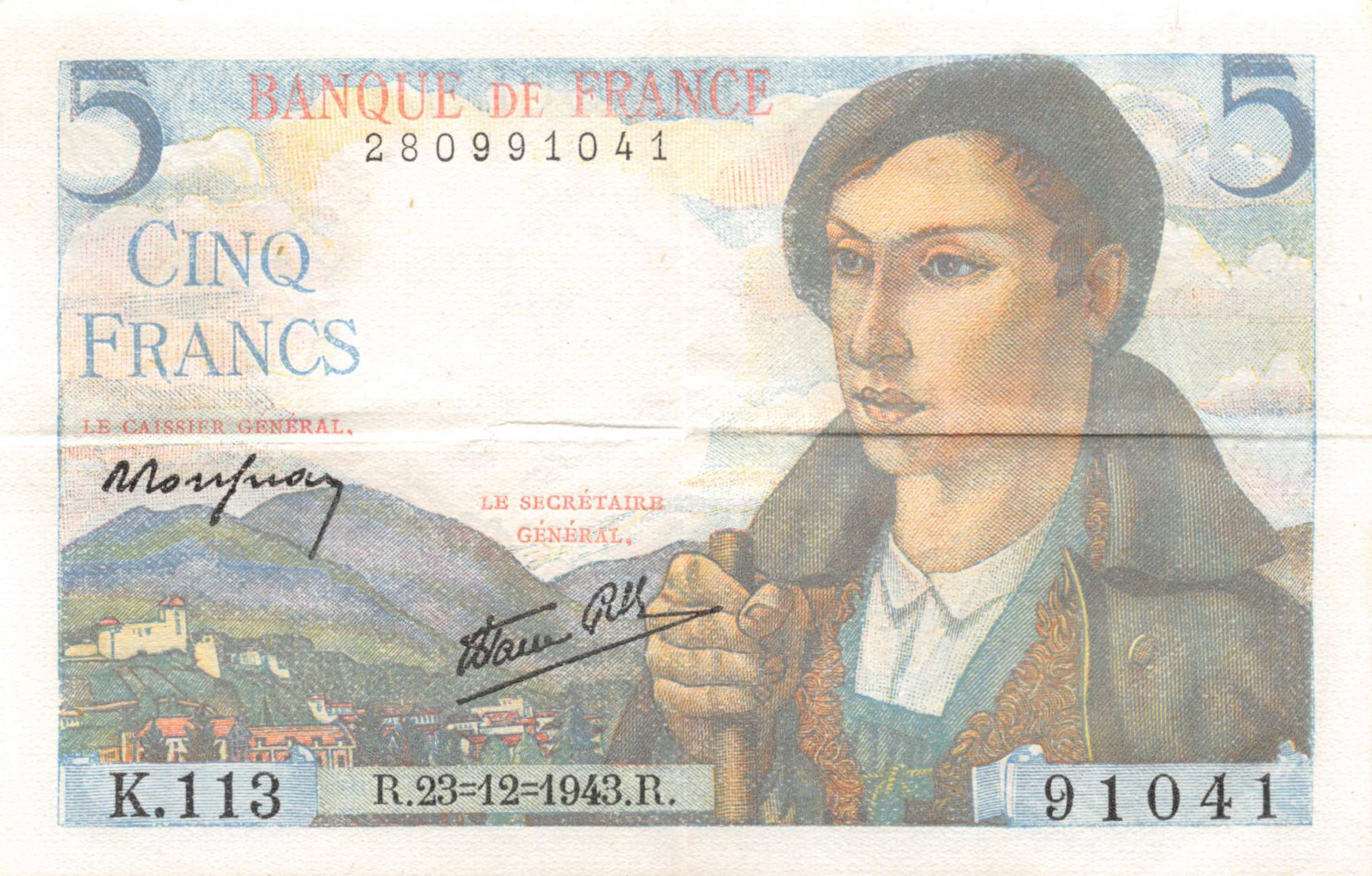 France 5 Francs Berger - 23-12-1943 Série K.113 - SUP