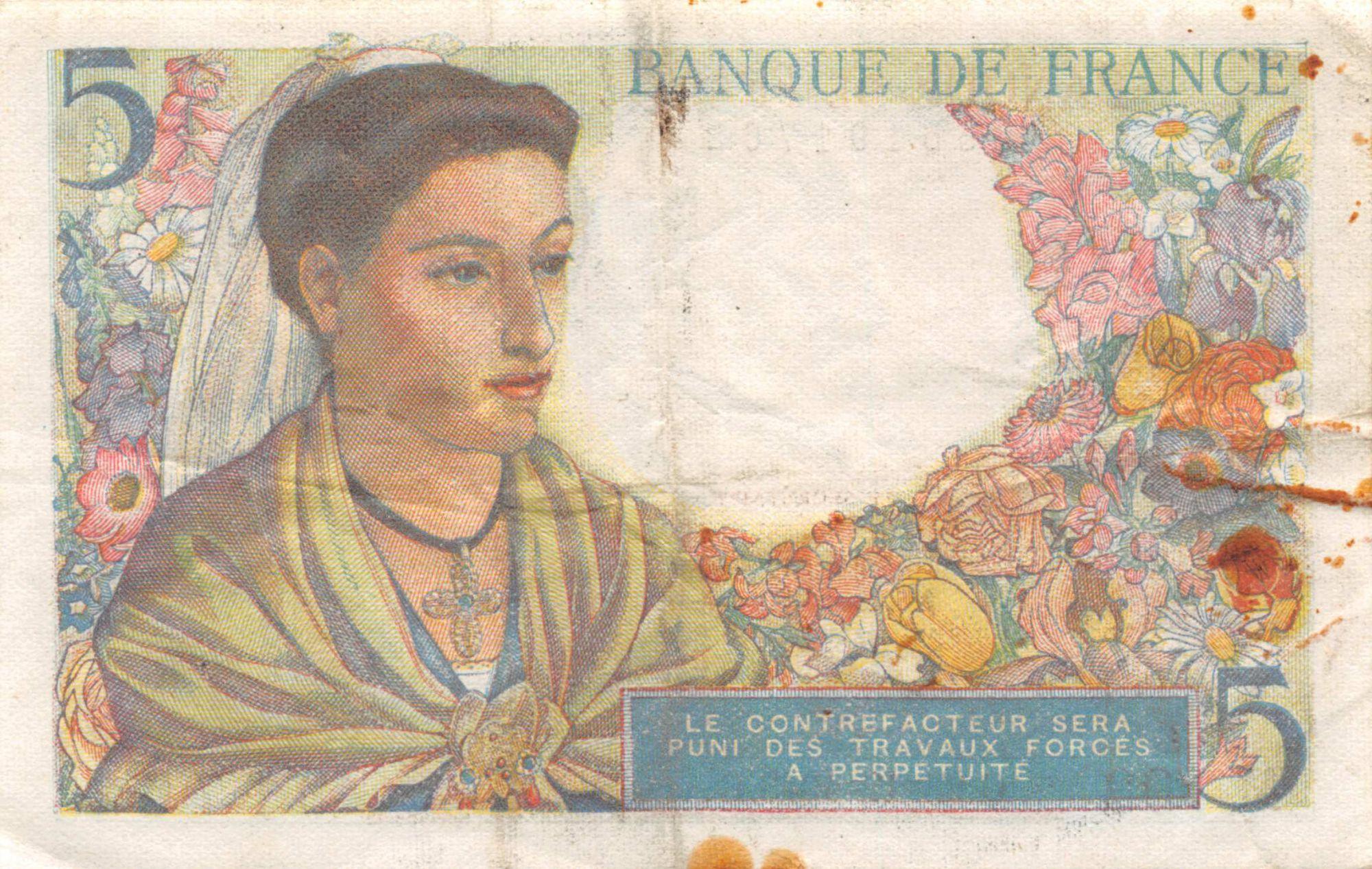 France 5 Francs Berger - 23-12-1943 Série M.103 - TTB