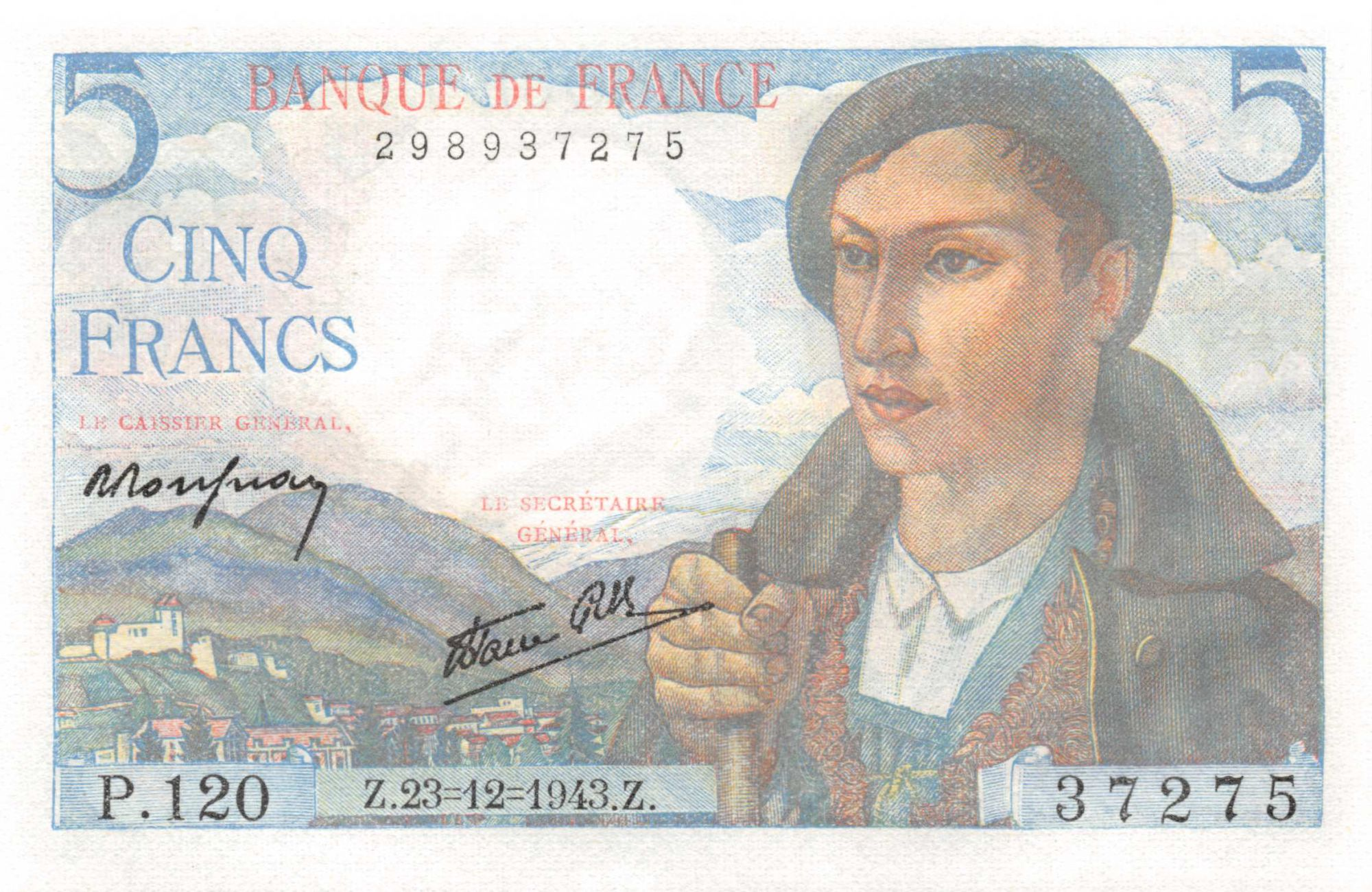 France 5 Francs Berger - 23-12-1943 Série P.120 - NEUF