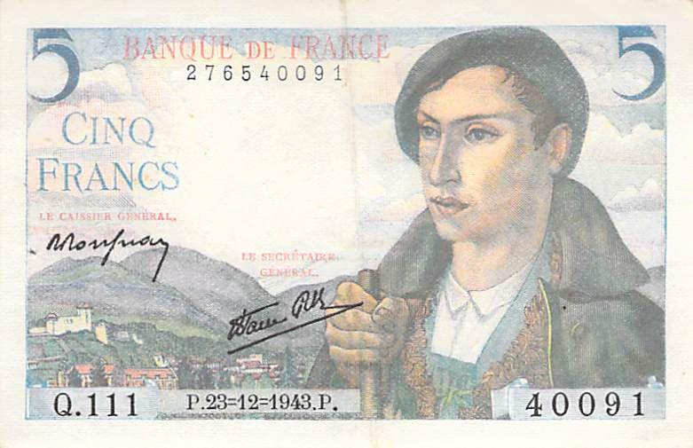 France 5 Francs Berger - 23-12-1943 Série Q.111 - PSUP