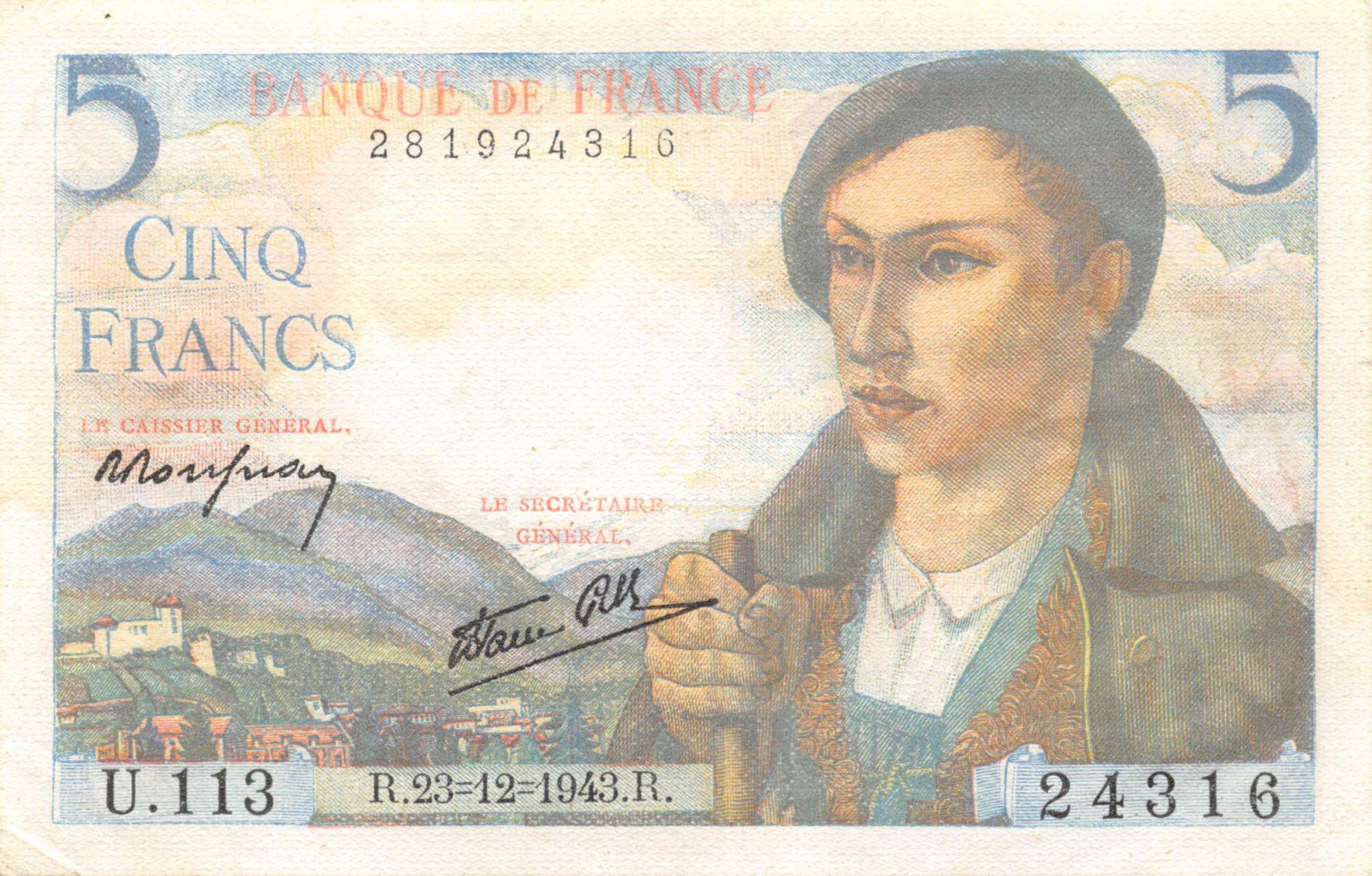 France 5 Francs Berger - 23-12-1943 Série U.113 - SUP