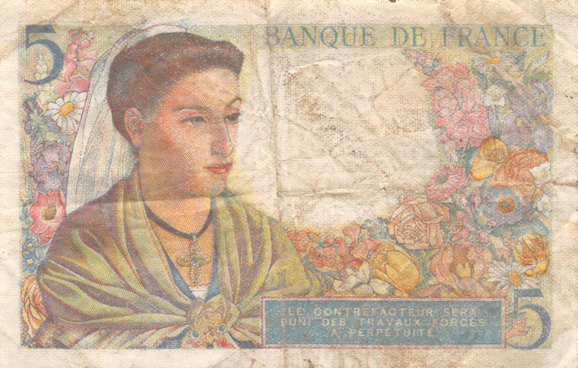 France 5 Francs Berger - 23-12-1943 Série V.100 - TB+