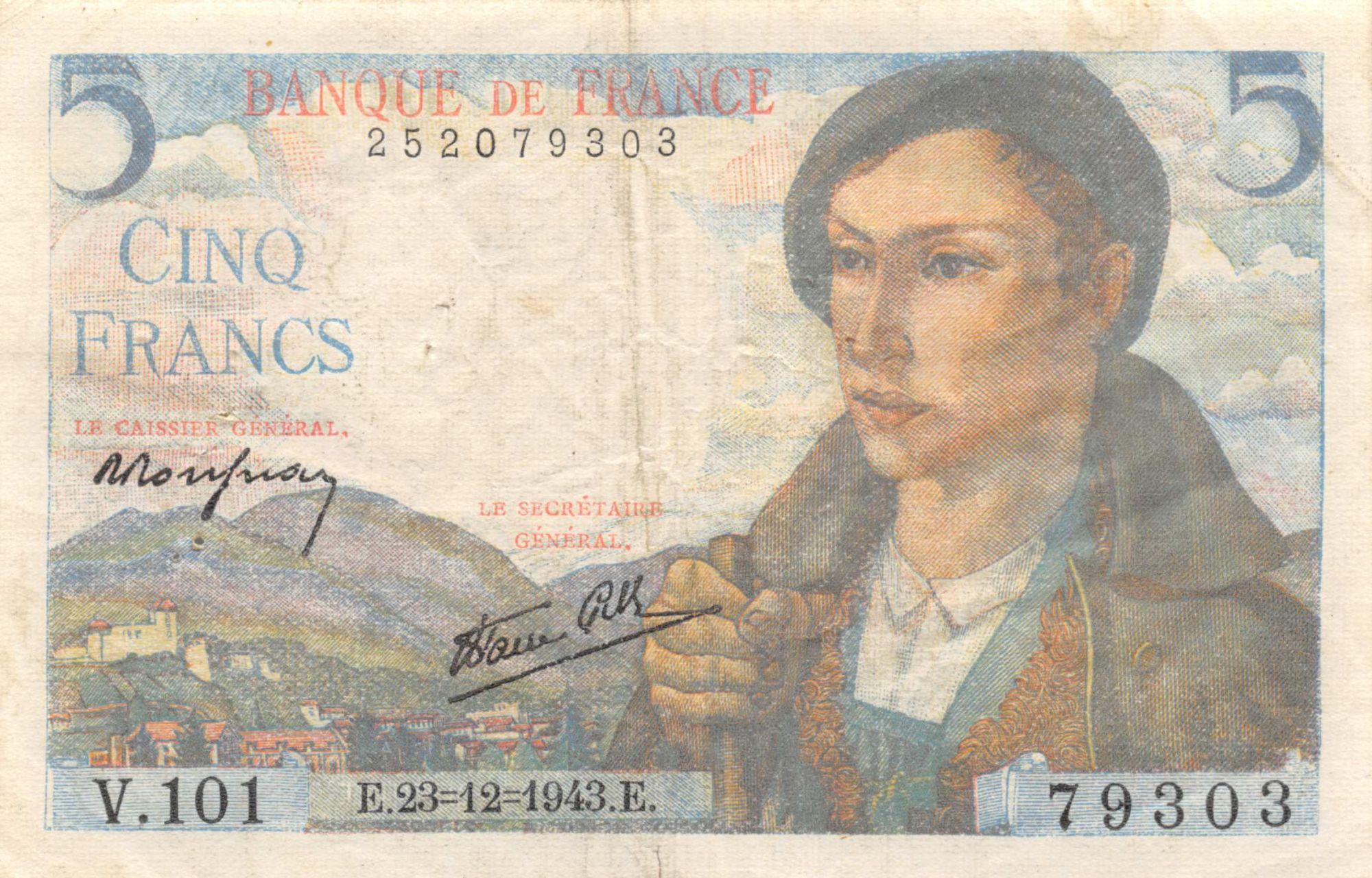 France 5 Francs Berger - 23-12-1943 Série V.101 - TB+