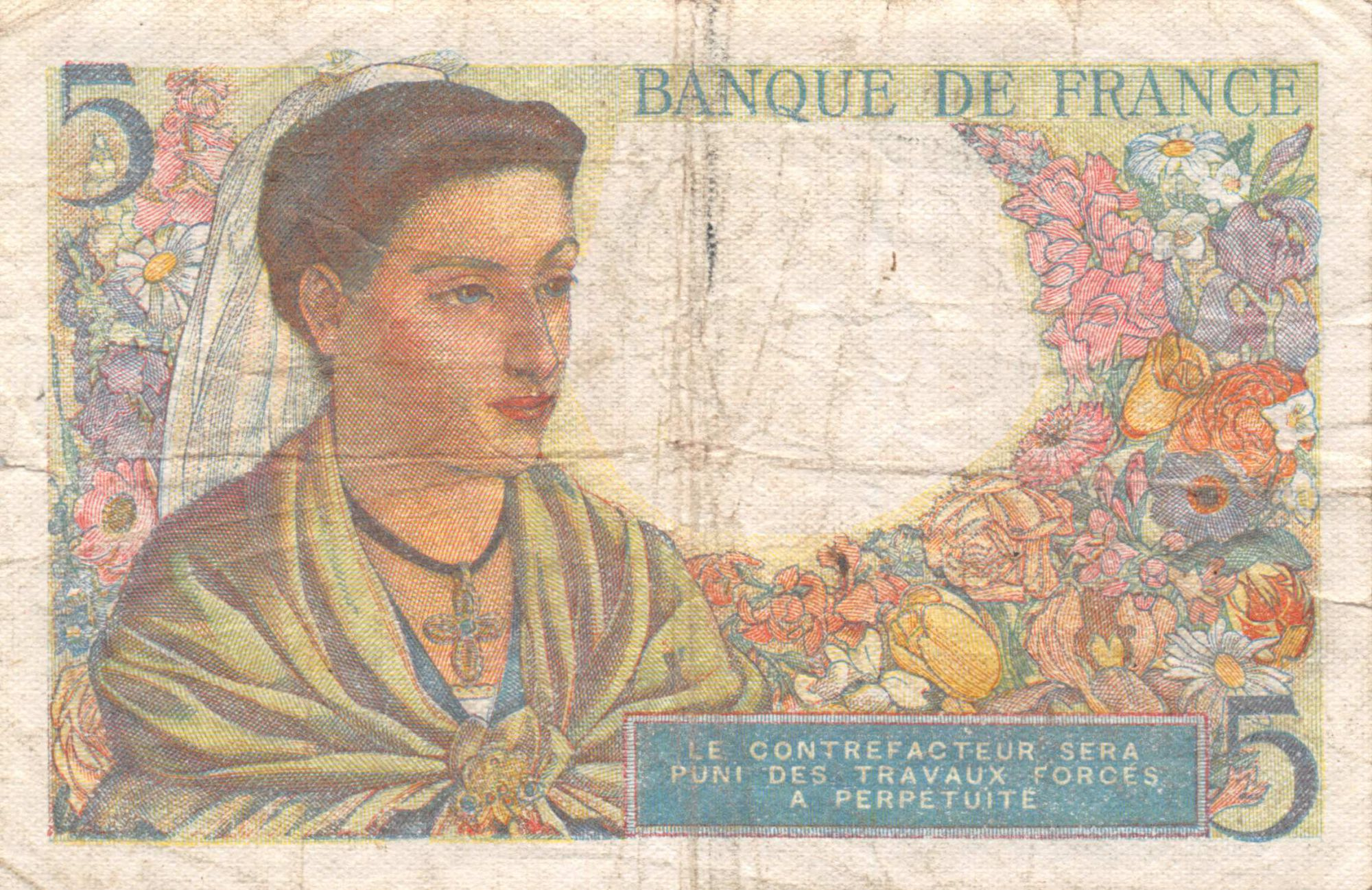France 5 Francs Berger - 23-12-1943 Série V.112 - TB