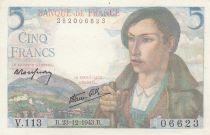 France 5 Francs Berger - 23-12-1943 Série V.113