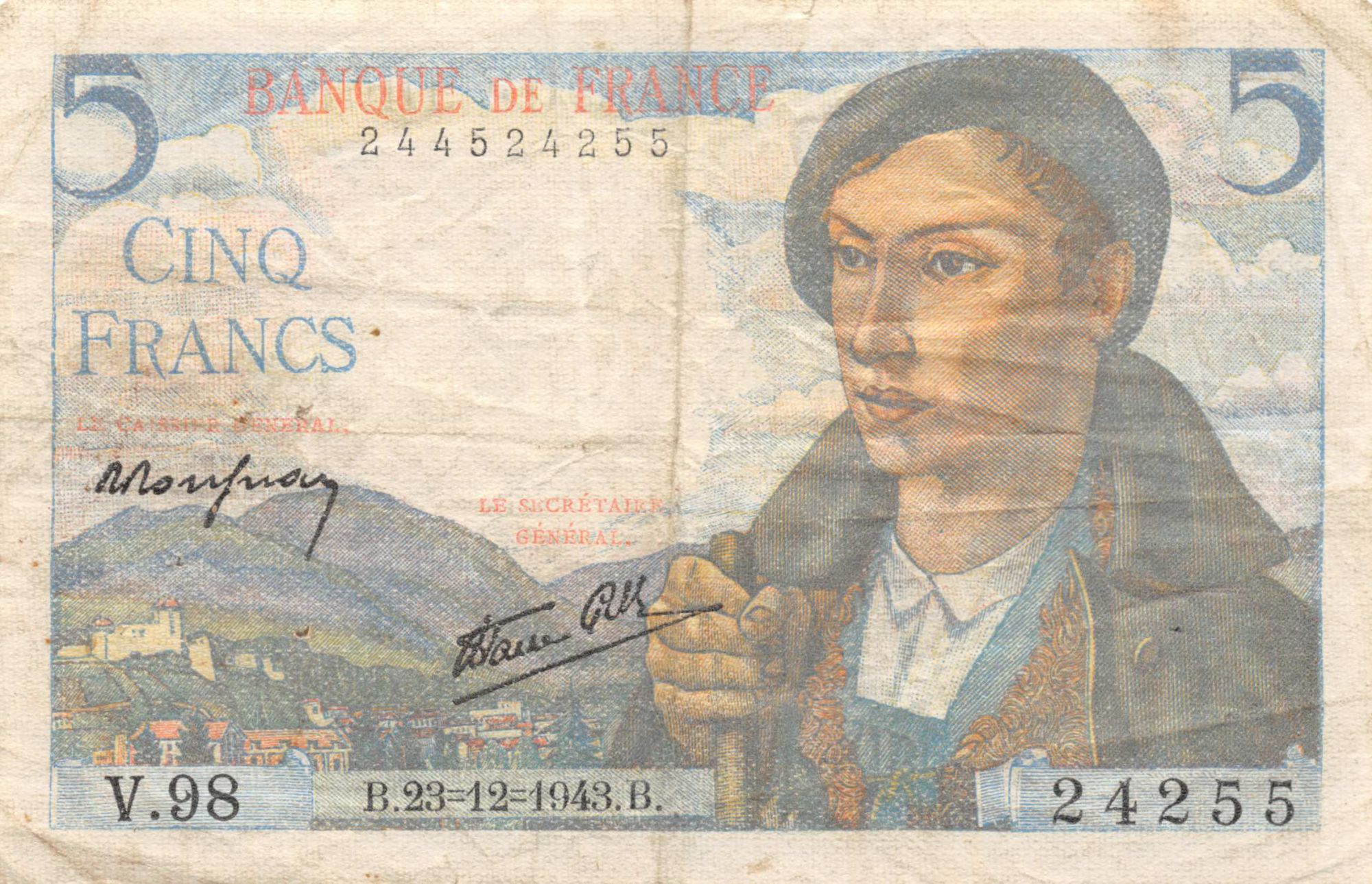 France 5 Francs Berger - 23-12-1943 Série V.98 - TB+