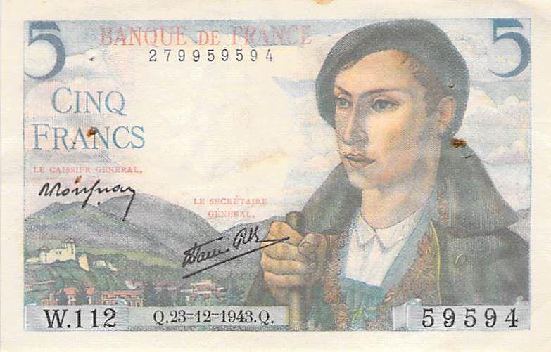 France 5 Francs Berger - 23-12-1943 Série W.112 - PTTB