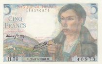 France 5 Francs Berger - 25-11-1943 - Série H.76