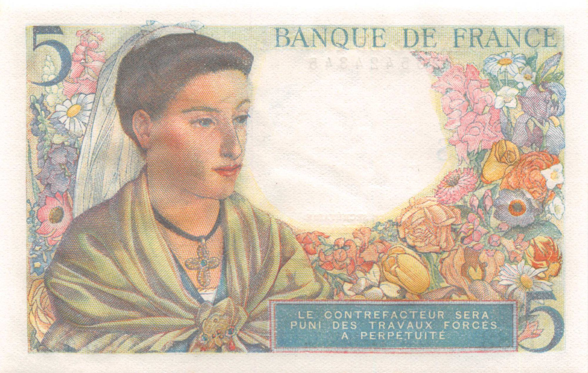 France 5 Francs Berger - 25-11-1943 Série E.83 - NEUF