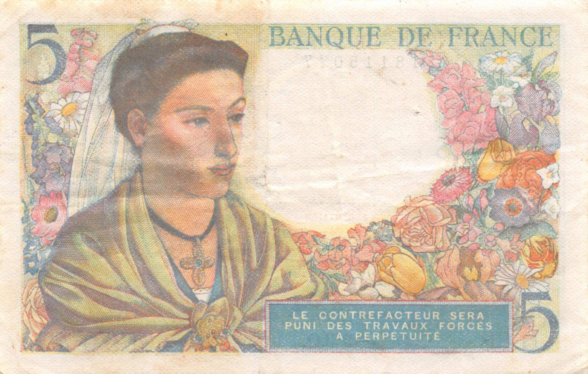 France 5 Francs Berger - 25-11-1943 Série G.88 - TTB