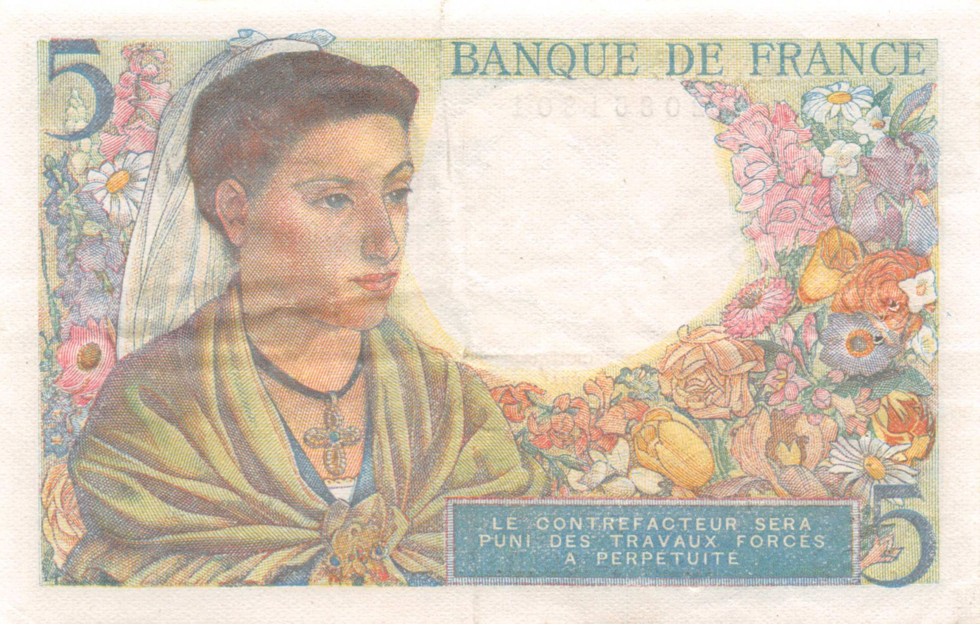 France 5 Francs Berger - 25-11-1943 Série J.89 - TTB+