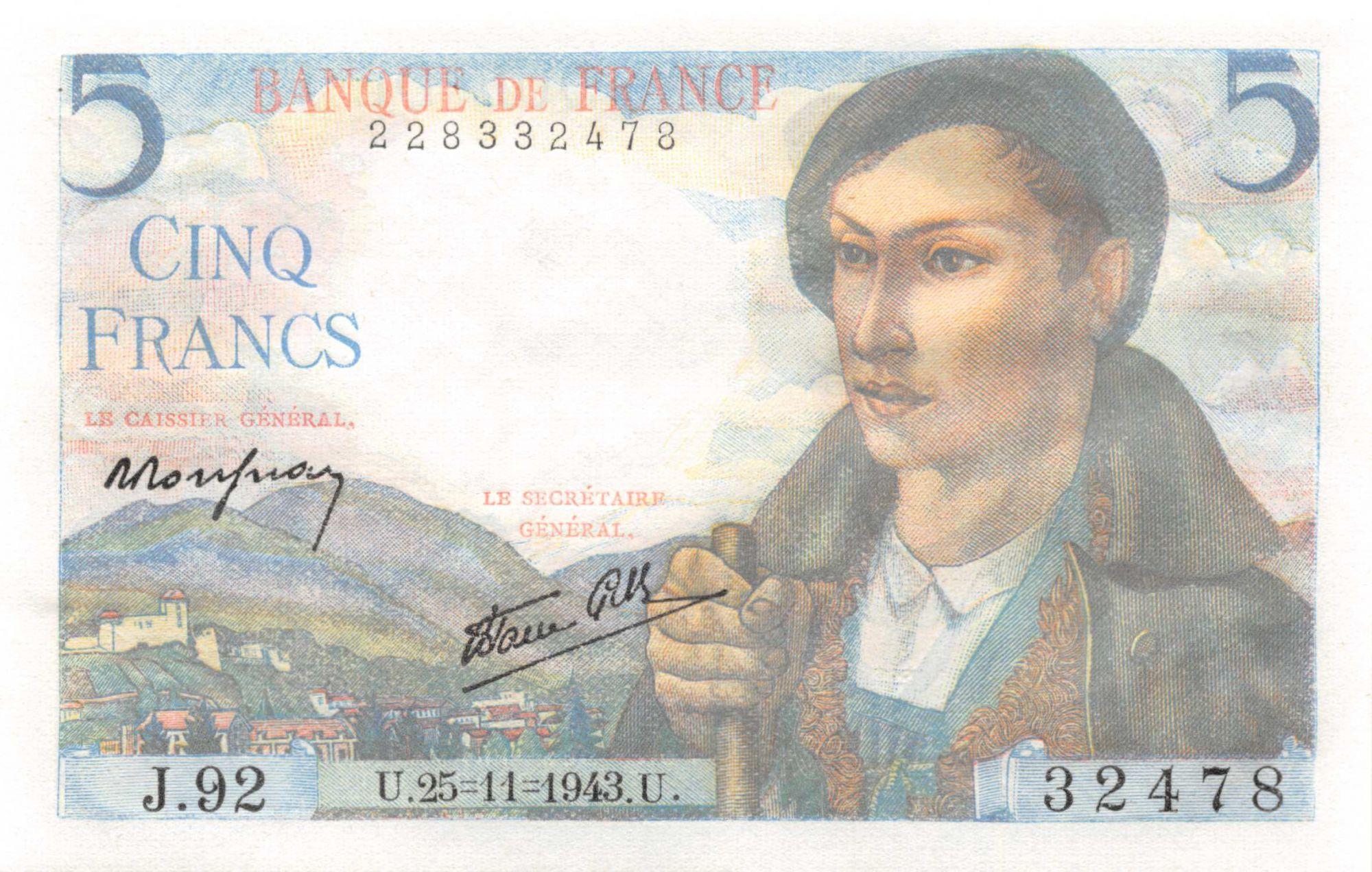 France 5 Francs Berger - 25-11-1943 Série J.92 - P.NEUF