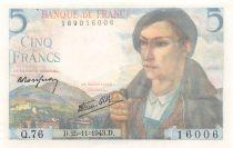 France 5 Francs Berger - 25-11-1943 Série Q.76 - NEUF