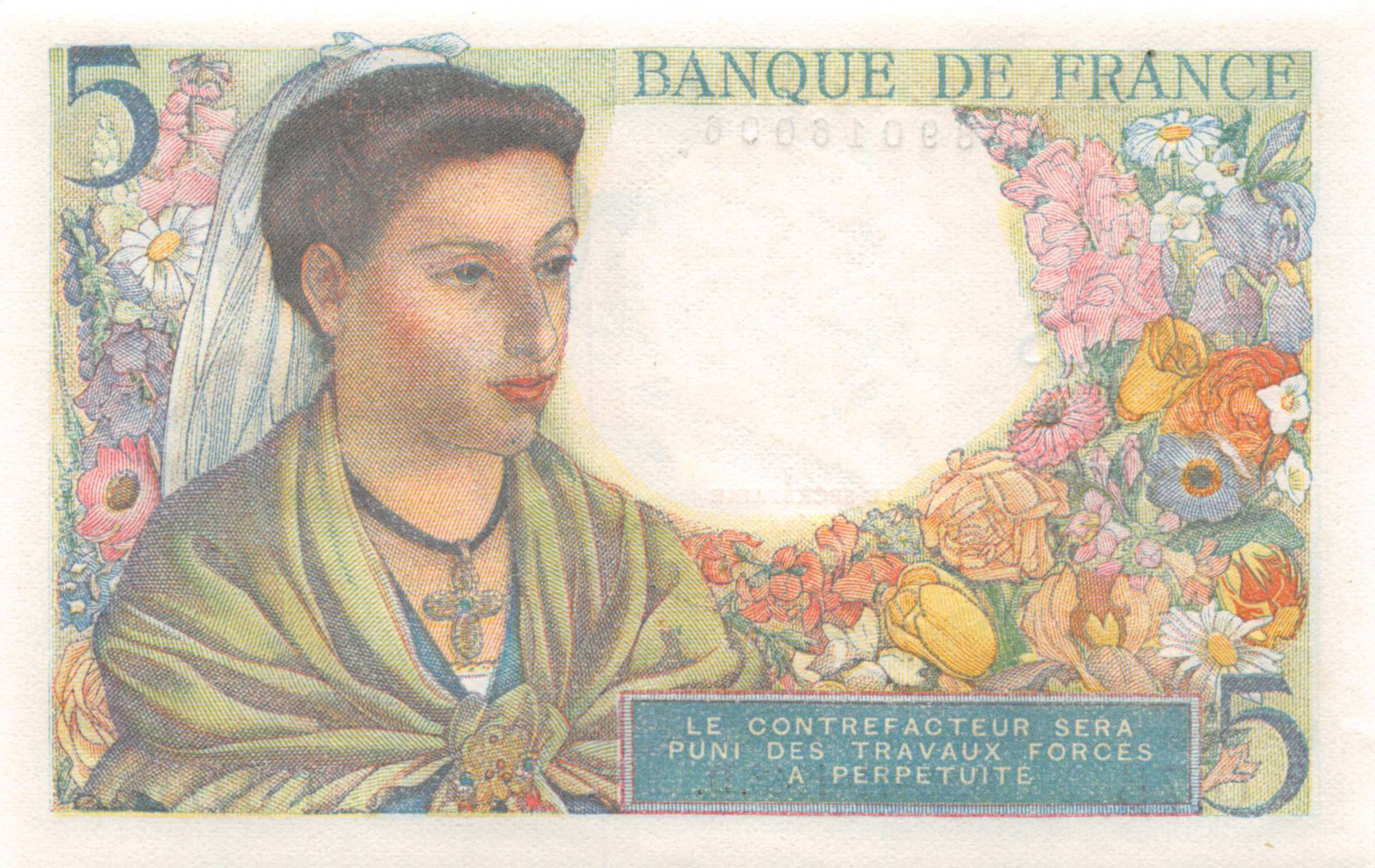 France 5 Francs Berger - 25-11-1943 Série Q.76 - NEUF