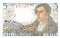 France 5 Francs Berger - 25-11-1943 Série S.74 - NEUF