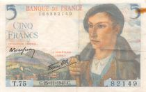 France 5 Francs Berger - 25-11-1943 Série T.75 - TB+