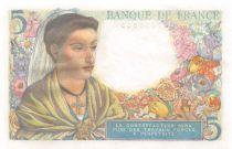 France 5 Francs Berger - 25-11-1943 Série V.91 - SPL