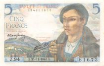 France 5 Francs Berger - 25-11-1943 Série Z.94 - SPL