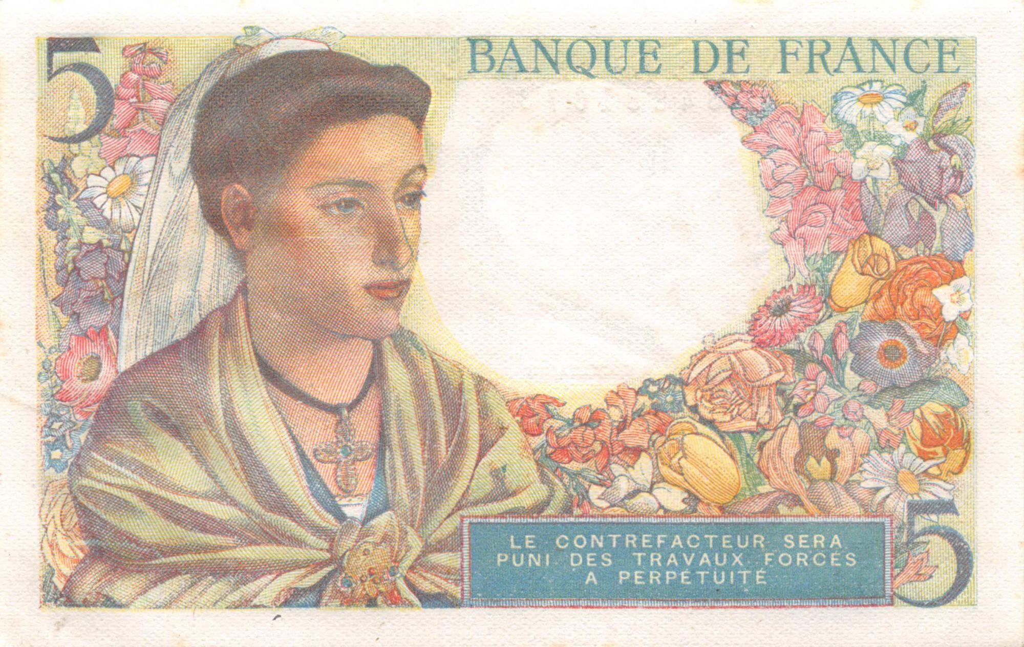 France 5 Francs Berger - 25-11-1943 Série Z.94 - SPL