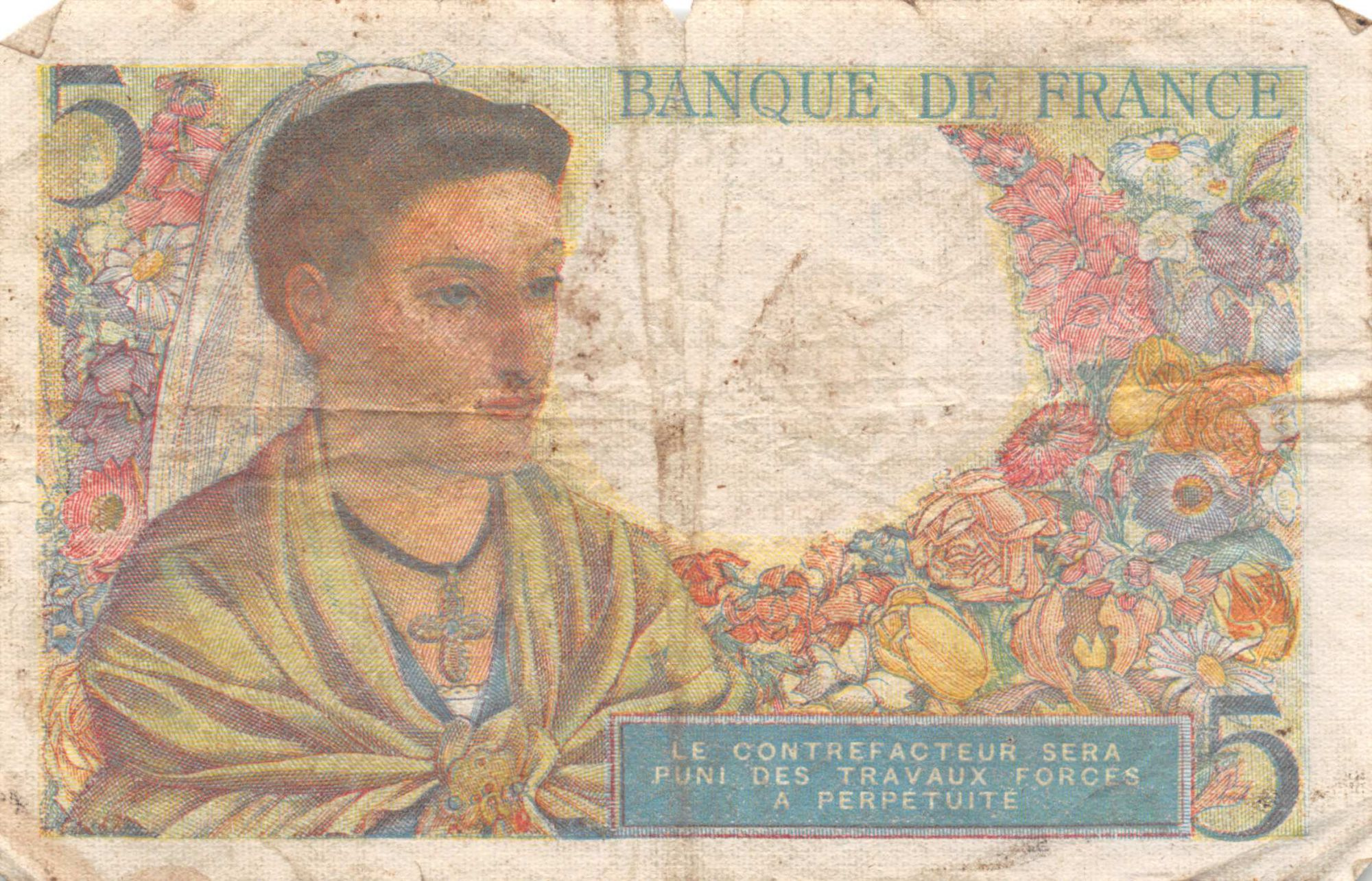 France 5 Francs Berger - 25-11-1943 Série Z.96 - TB