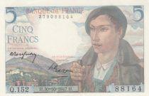 France 5 Francs Berger - 30-10-1947 - Série Q.152