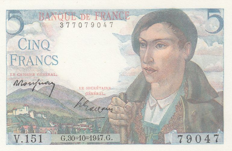 France 5 Francs Berger - 30-10-1947 - Série V.151