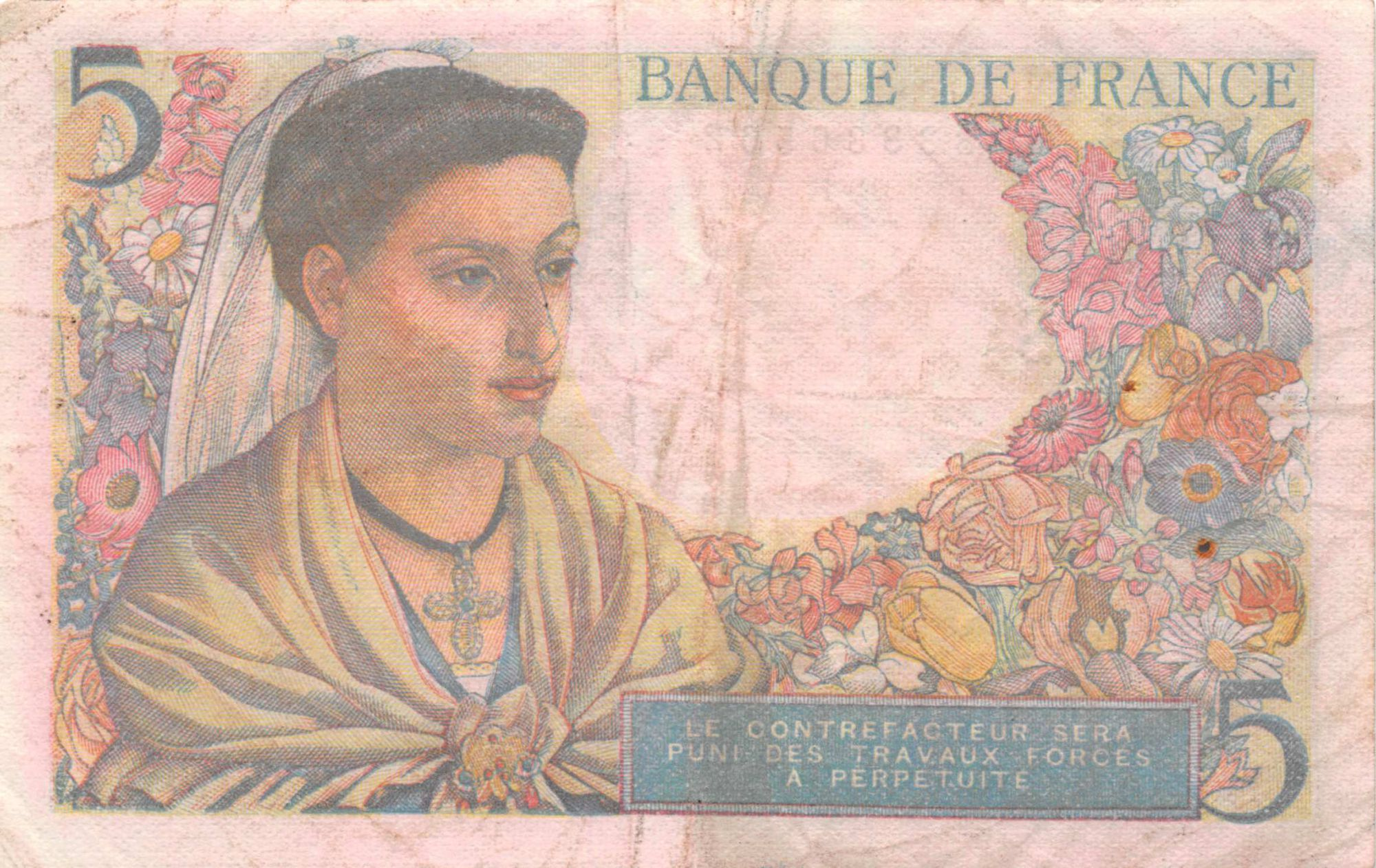 France 5 Francs Berger - 30-10-1947 Série J.154 - TTB