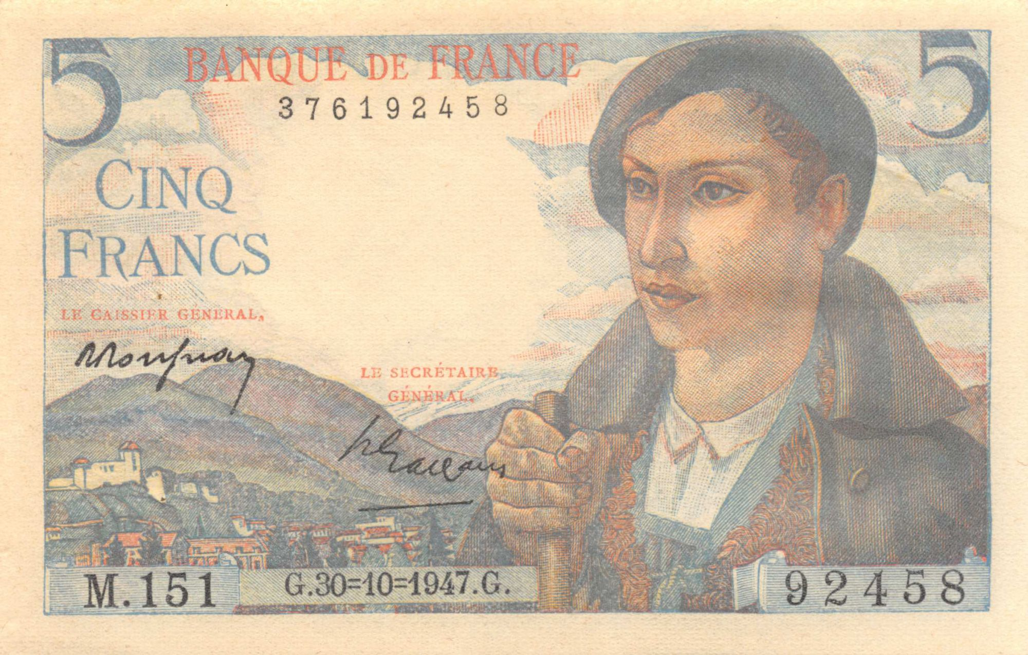 France 5 Francs Berger - 30-10-1947 Série M.151 - SUP