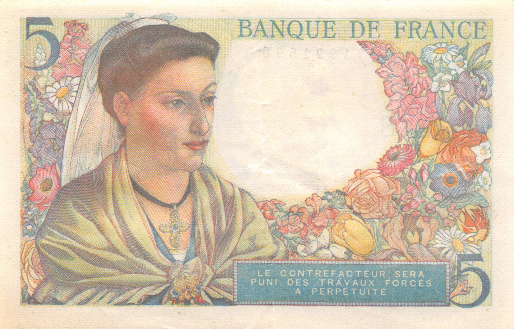 France 5 Francs Berger - 30-10-1947 Série U.149 - TTB+