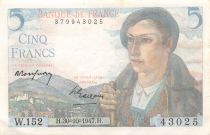 France 5 Francs Berger - 30-10-1947 Série W.152 - TTB+
